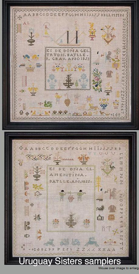 Uruguay-Sister-Samplers-Clamentina-Batlle-1822-Geltrudis-Batlle-1823-Montevideo-Uruguay